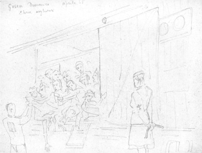 The drawing was done by Belgiojoso after liberation and shows the unloading of a carriage transporting female prisoners. The female warden on the left side of the picture probably belongs to the transport guard. From February 1945 onward, transports from the abandoned eastern camps, in particular from Auschwitz, brought Jewish prisoners, including a large number of Hungarians, to Gusen. The trip took several weeks and many of the prisoners died on the way. Their bodies were either thrown out of the train during the journey or cremated upon arrival. Many of the deportees were so weakened by their ordeal that they died soon after their arrival, or were selected to be killed. (A.N.E.D., Milan)
