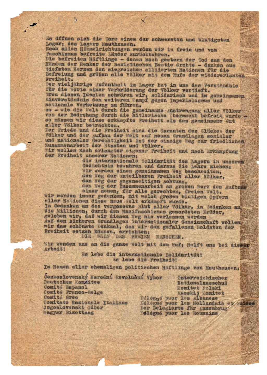 The 'Mauthausen Oath' of the international prisoner commitee, May 1945 (Mauthausen Memorial / Collections)