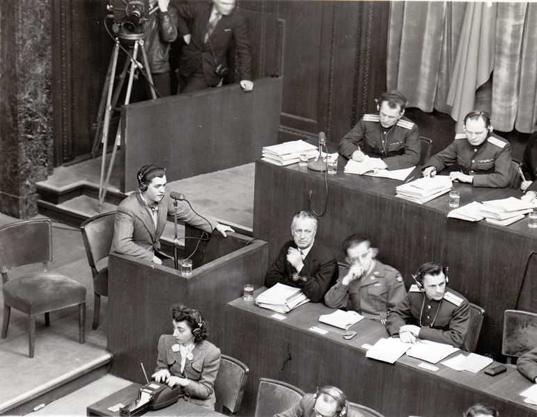Statement of Mauthausen survivor Francisco Boix at the Internationalen Military Tribunal in Nuremberg, 1946 (photo credits: US National Archives and Records Administration)