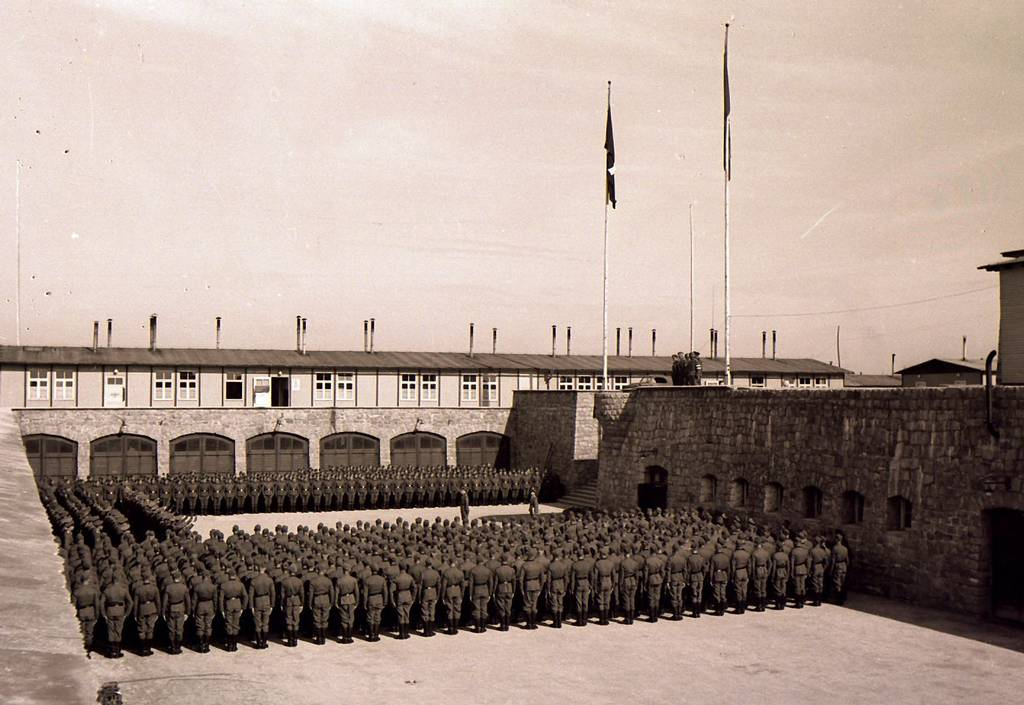 Swearing-in of SS-Men in Mauthausen, 20 April 1941 (photo credits: Mauthausen Memorial / Collections, Collection Mariano Constante)