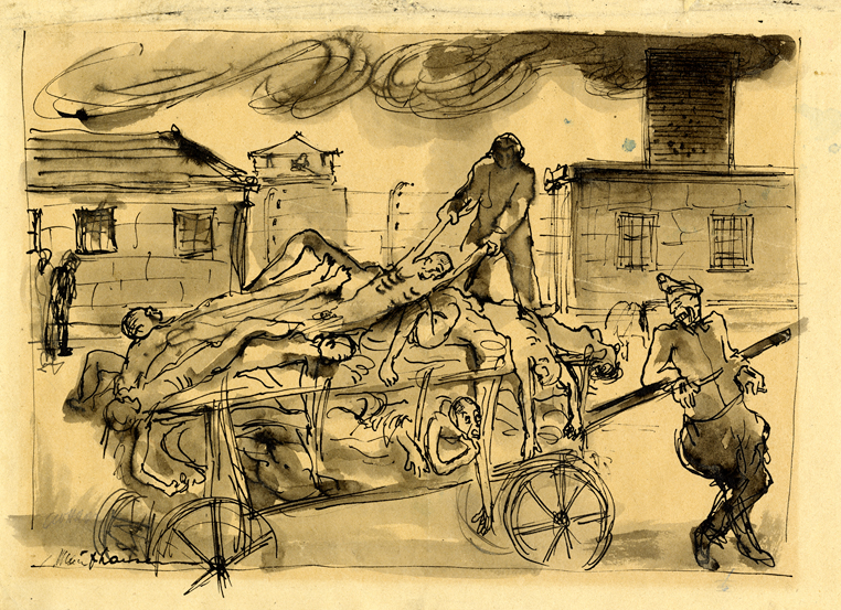 "Drawing by Leo Haas: ""Před krematoriem"" (In front of the crematorium), 1945 (Památnik Terezín)"