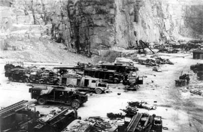 Vehicles of the Vienna 'Feuerschutzpolizei' (fire brigade) in the 'Wiener Graben' quarry, Mauthausen, shortly after liberation. (photo credits: Mauthausen Memorial / Collections)
