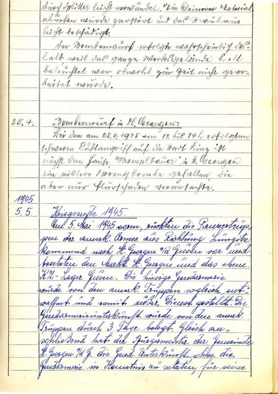 Exposé of the chronicle of the county police St. Georgen an der Gusen concerning incidents on the 5th of may 1945, page 1