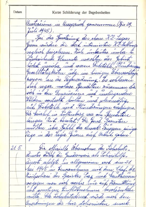 Exposé of the chronicle of the county police St. Georgen an der Gusen concerning incidents on the 5th of may 1945, page 2