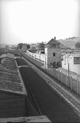 Northern wall of the camp with watchtower, presumably spring 1943 (photo credits: SS-photo, Courtesy of Museu d'Història de Catalunya, Barcelona: Fons Amical de Mauthausen)