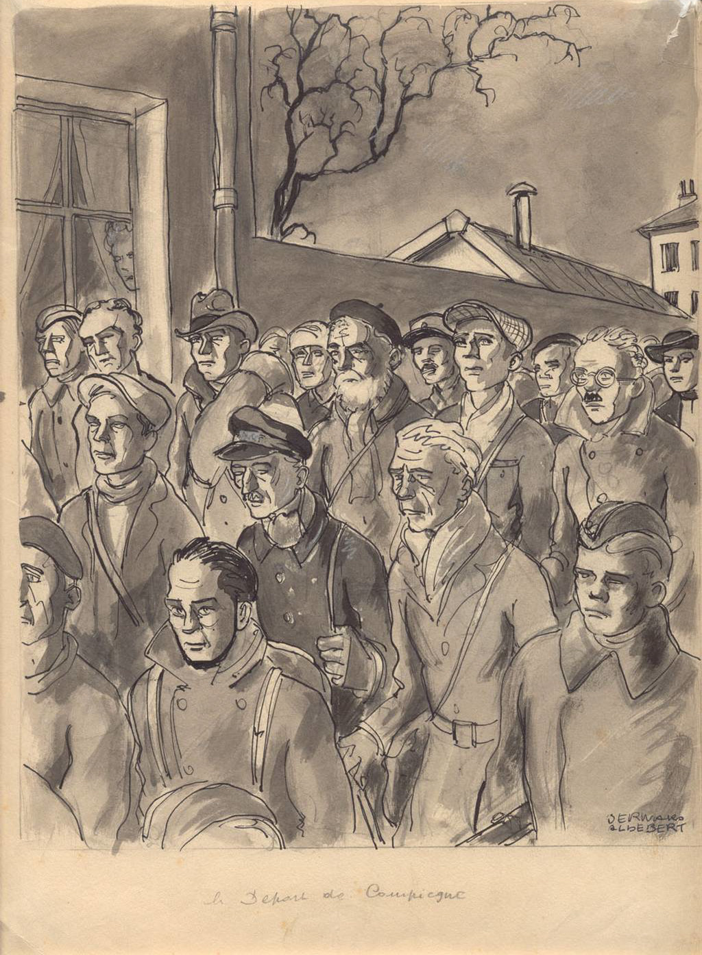 """Departure from Compiègne"", drawing by the French survivor Bernard Aldebert, 1945/46. (Mauthausen Memorial / Collections)"