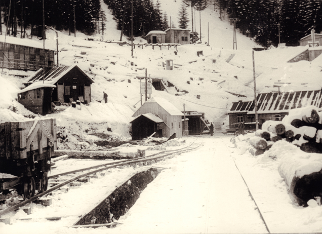 The northern access to the construction site of the tunnel, 1944 (SS-photo, KZ-Gedenkstätte Mauthausen)