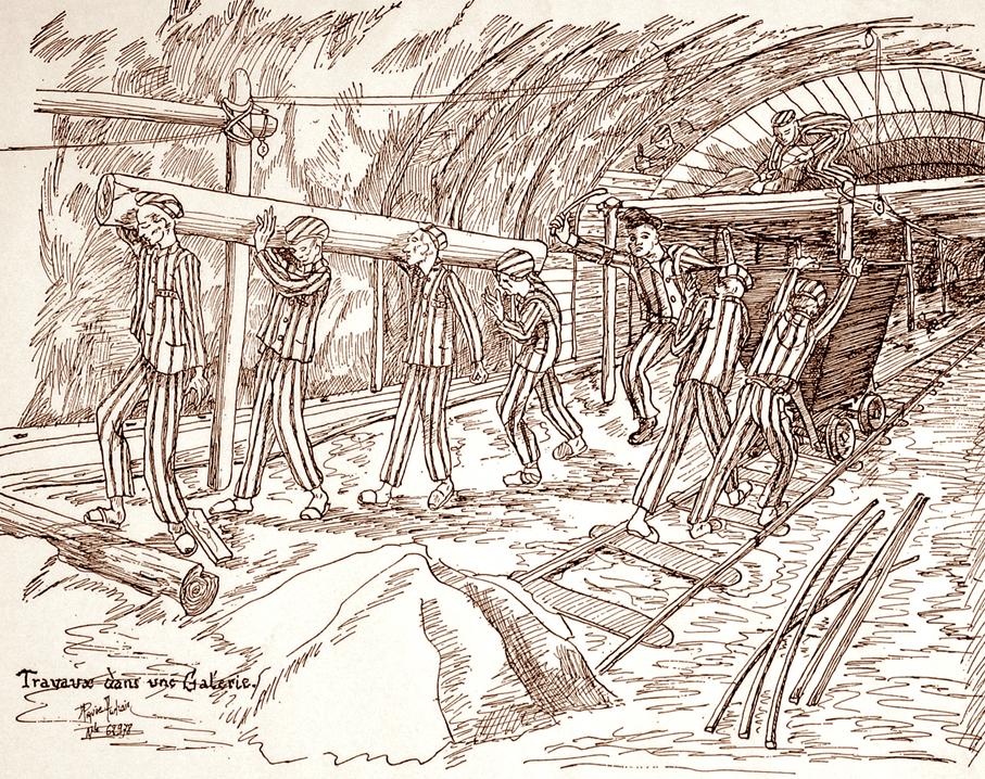 "Drawing by Daniel Piquée-Audrain: ""Travaux dans une Galerie"" [Works in a Gallery], 1945/47 (Nicolas Piquée-Audrain)"