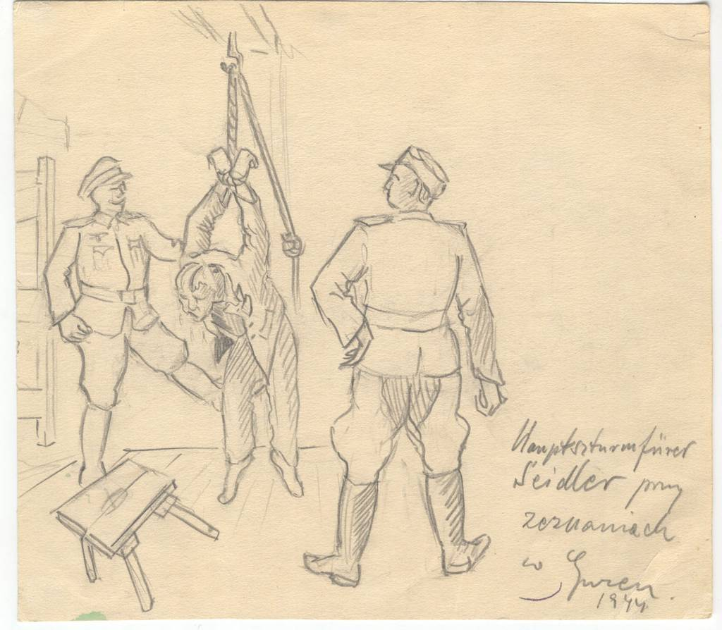 The Camp commander Hauptsturmführer Seidler conducting interrogations in Gusen, 1944. Drawing by Stanisław Walczak (Mauthausen Memorial / Collections)