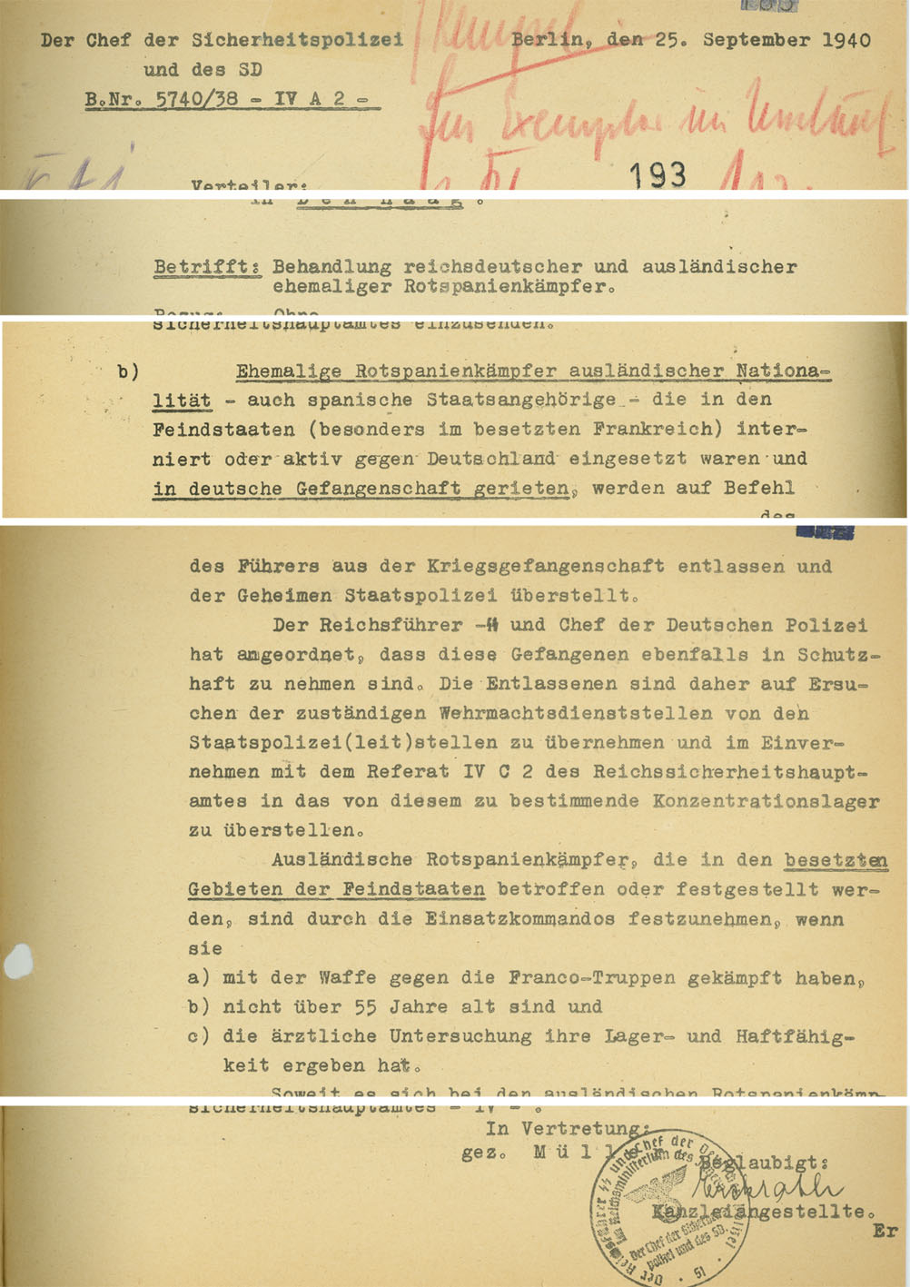 Memorandum by the Chief of the Security Police and the SD, dated 25th September 1940, concerning the treatment of foreign and German former combatants in Spain. The ordinance accompanying this memo provided the basis for the mass deportation of former members of the Republican Army to the concentration camps. (Bundesarchiv, Koblenz, R 58/26)